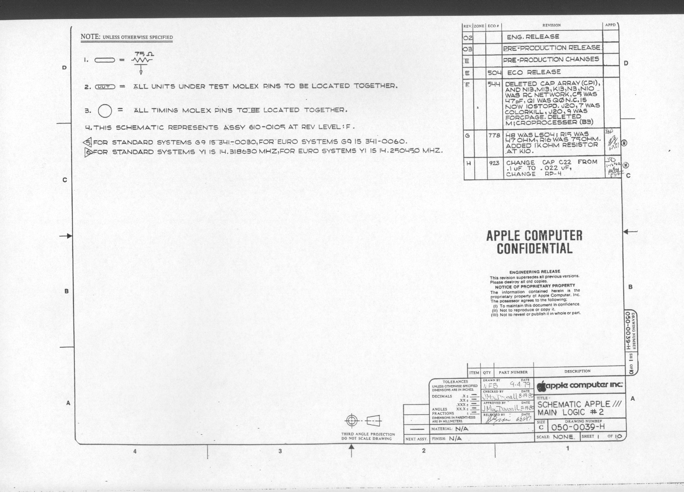 Apple Iii Schematic Diagrams 2 Level Logic Diagram Main Boards 1