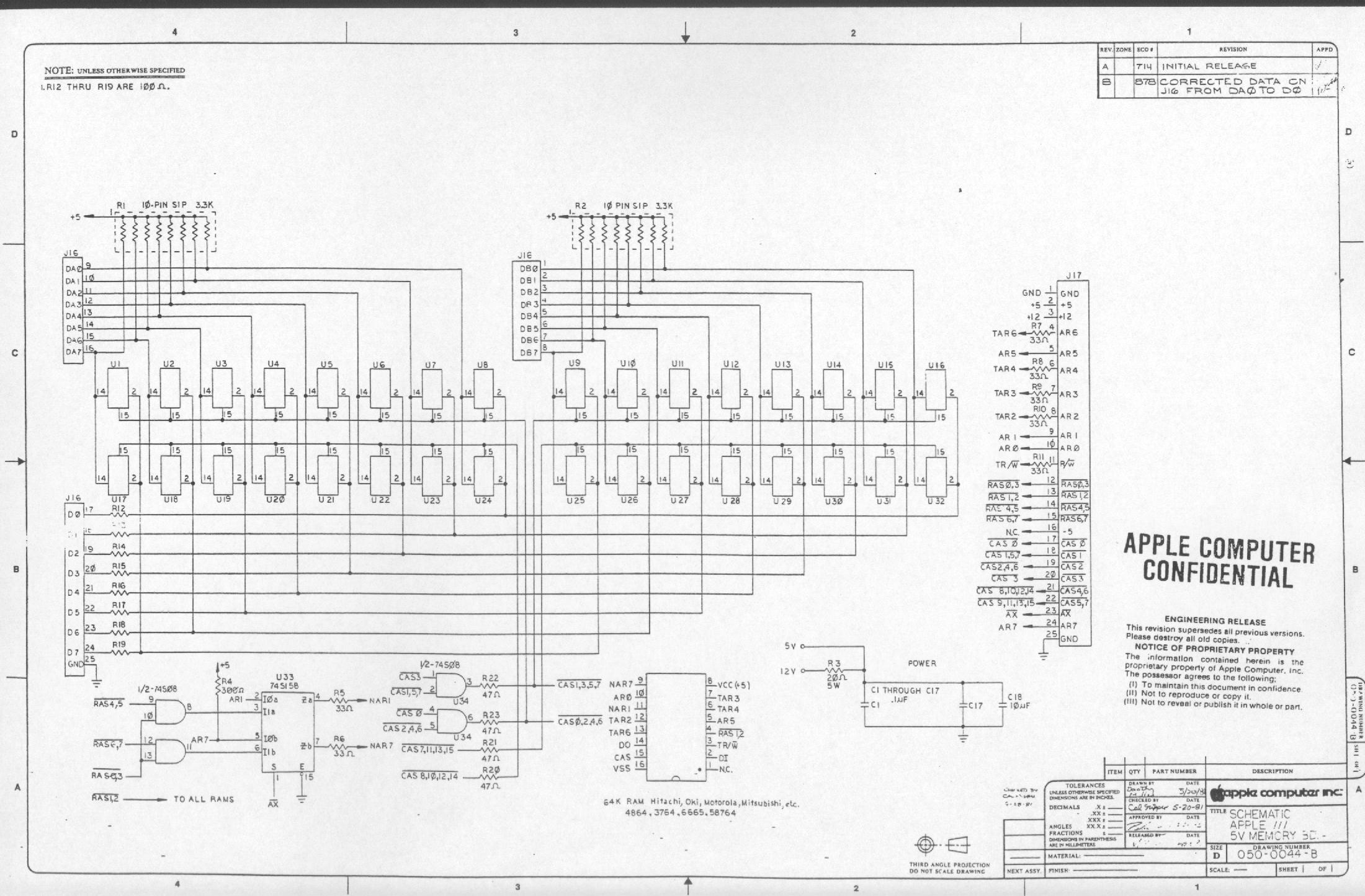 Memory Board 5V apple iii schematic diagrams wiring diagram for apple tv at crackthecode.co